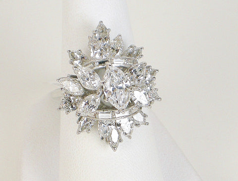 D color marquise diamond in dramatic ring