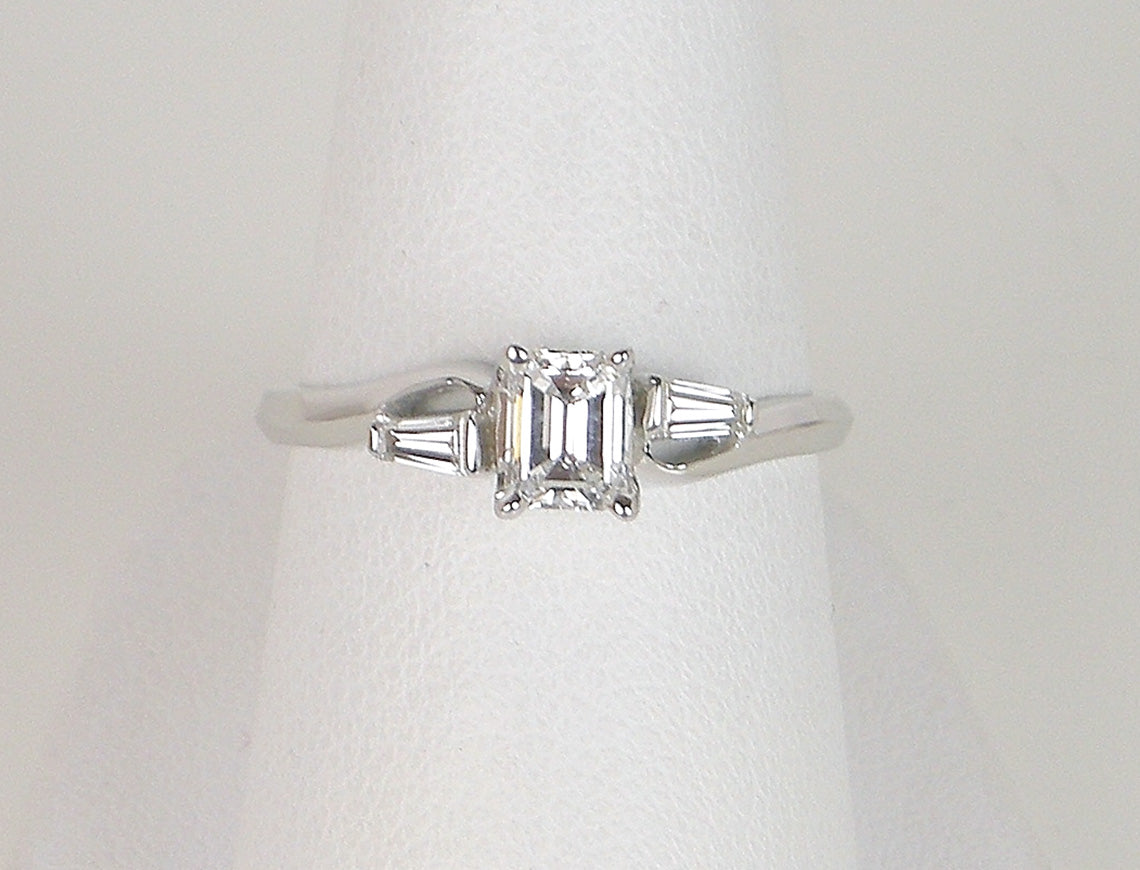 Vintage emerald cut engagement ring