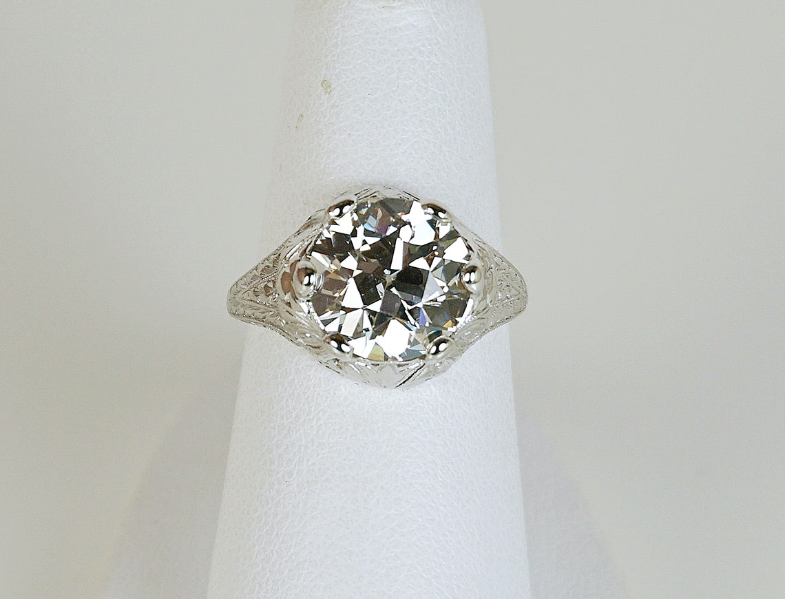 3.56 carat European cut diamond ring