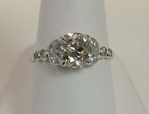 1.84 carat Old Mine cut diamond ring