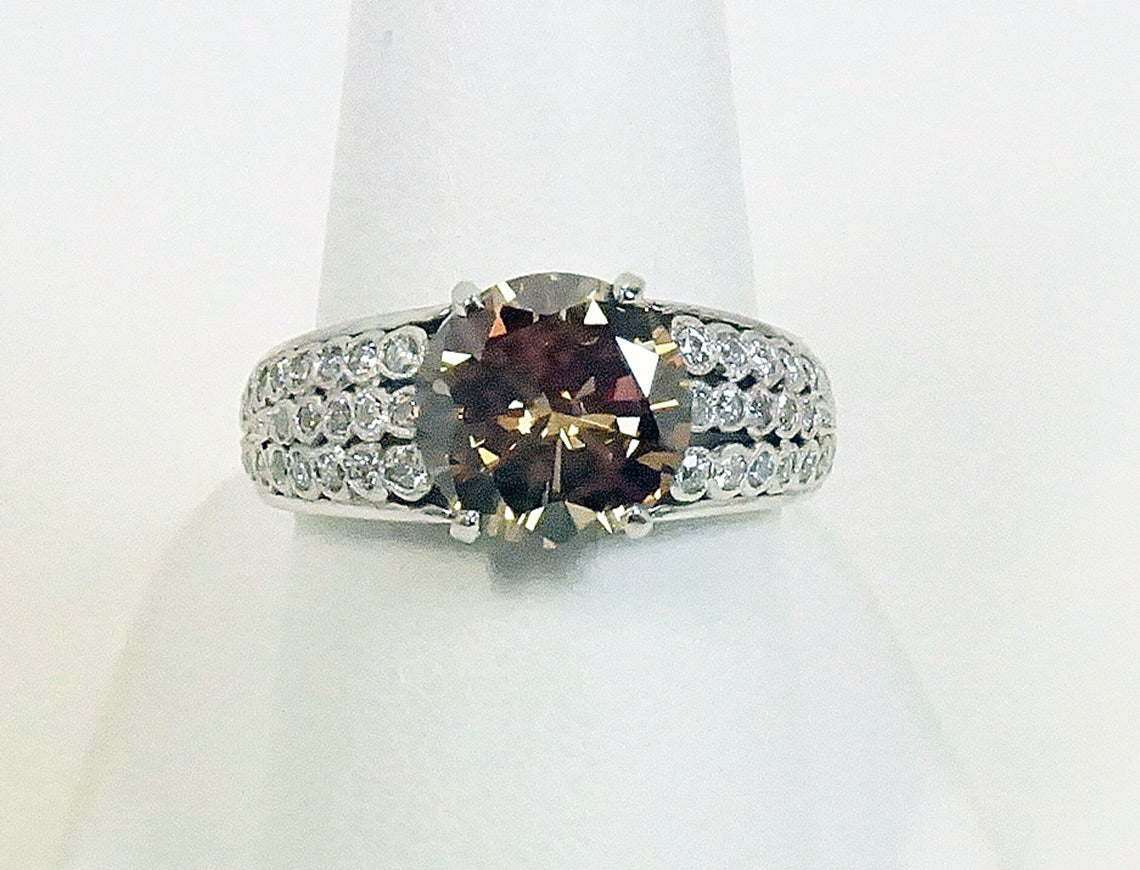 2.62 carat fancy brown diamond ring