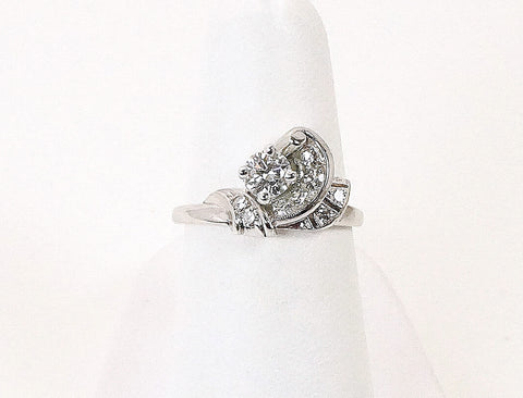 Vintage scroll diamond ring
