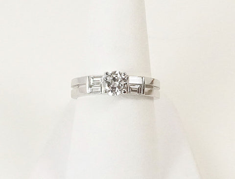 .53 carat European cut diamond engagement ring