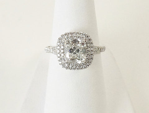 "2.03 carat cushion in ""Soleste"" ring by Tiffany"