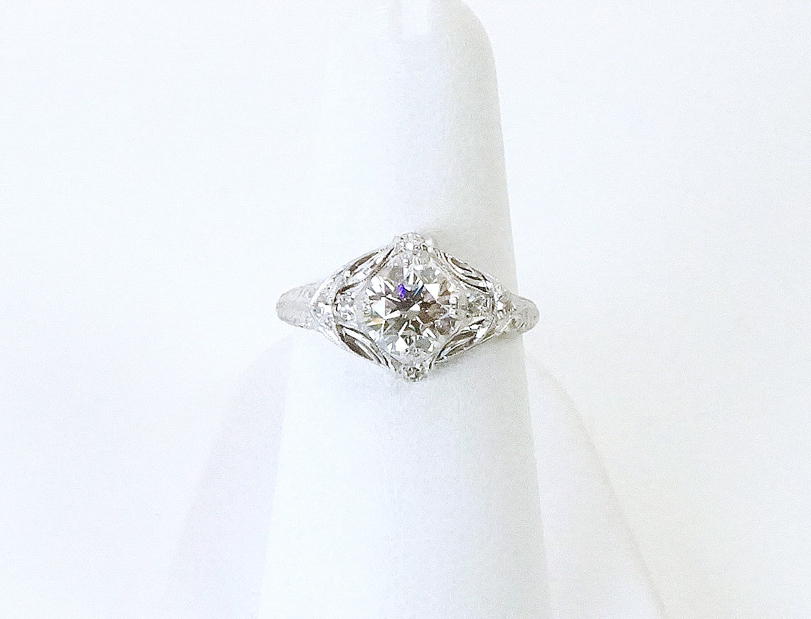 Vintage Edwardian ring with modern diamond