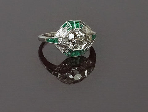 Deco style emerald and diamond ring