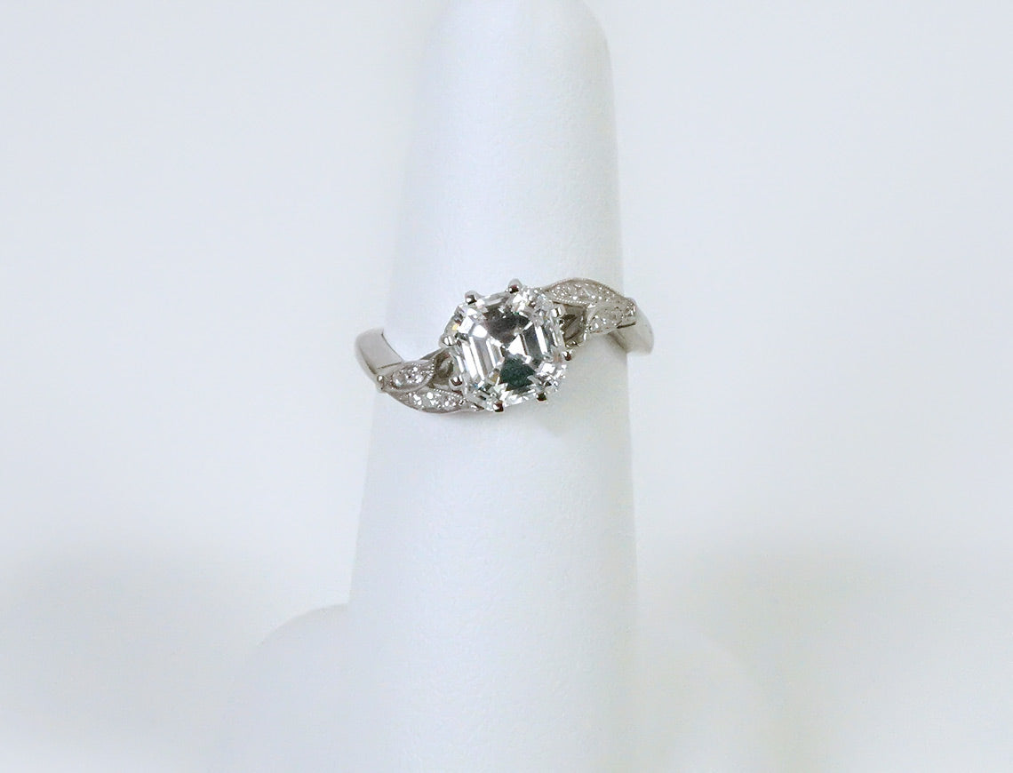 Vintage square emerald cut diamond ring