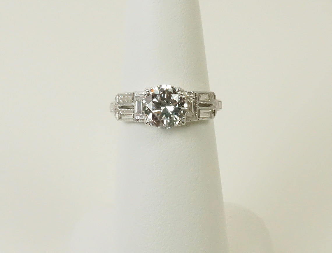 1.66 diamond in vintage Deco setting
