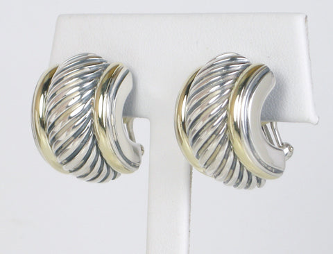 Silver and gold earrings by David Yurman