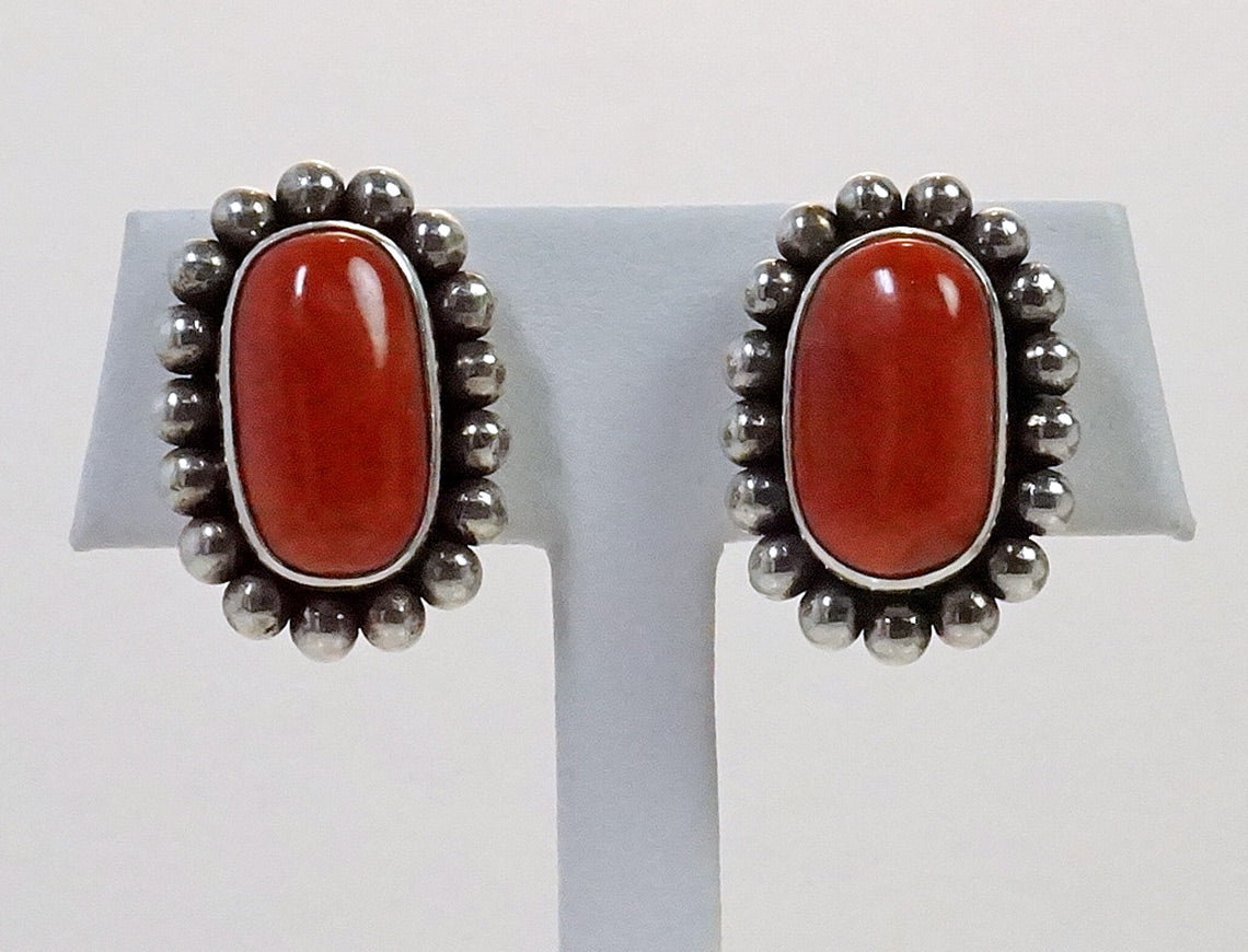 Oxblood coral earrings by Steven Dweck