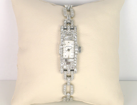 Elegant vintage platinum and diamond watch