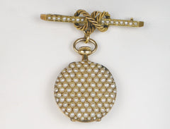 Pearl-encrusted ladies' lapel watch