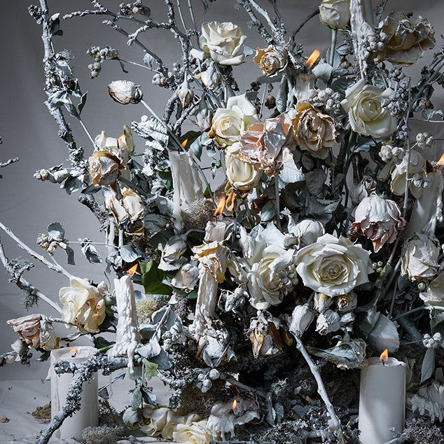 Dusted White Flowers and Candles