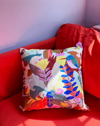 tropical birds and plants pillow