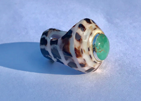 Shell Ring with Turquoise
