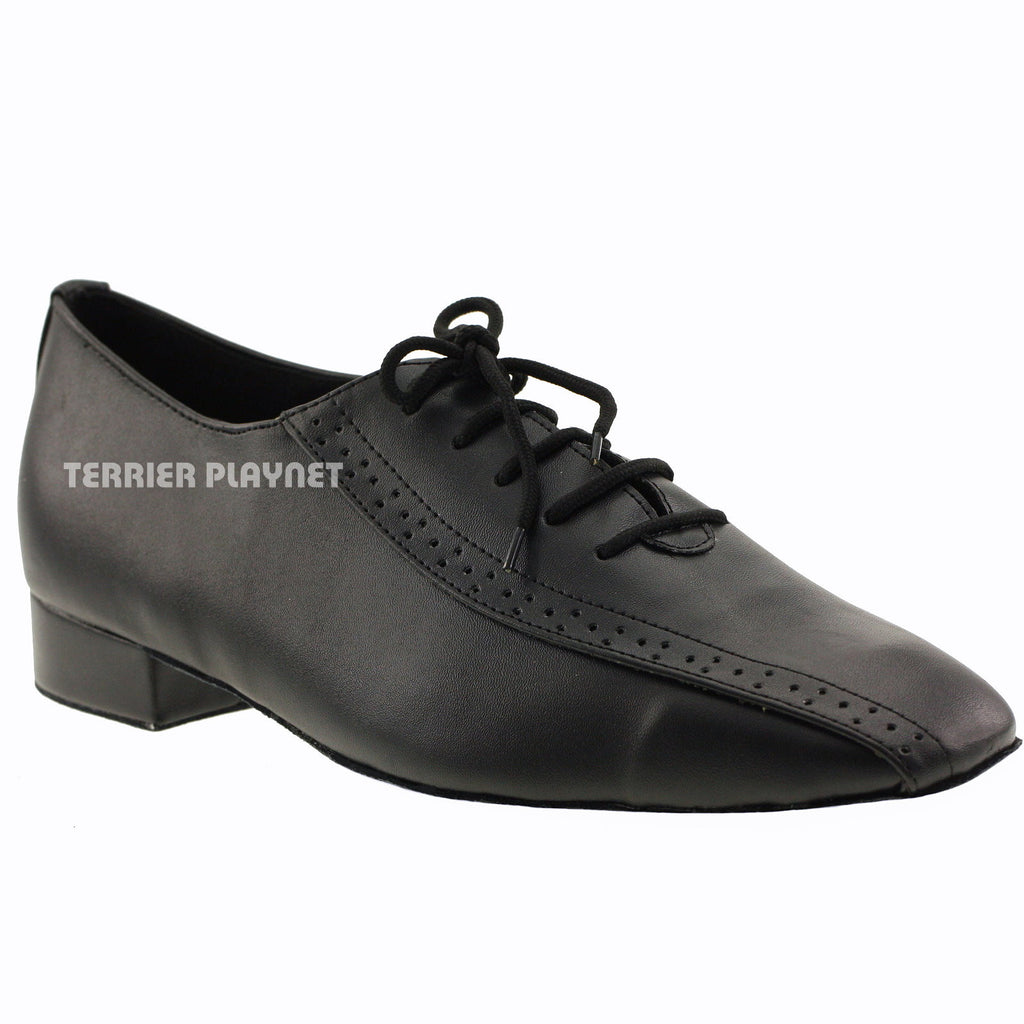 Black Men Dance Shoes B03 UK10/US10.5/EU44.5 1 Inches/2.5cm Heel - Terrier Playnet Shop
