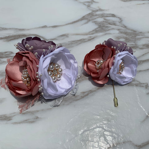 White Blush Pink Dusty Purple Satin Flower Wrist Corsage Boutonnière For Selection CR2