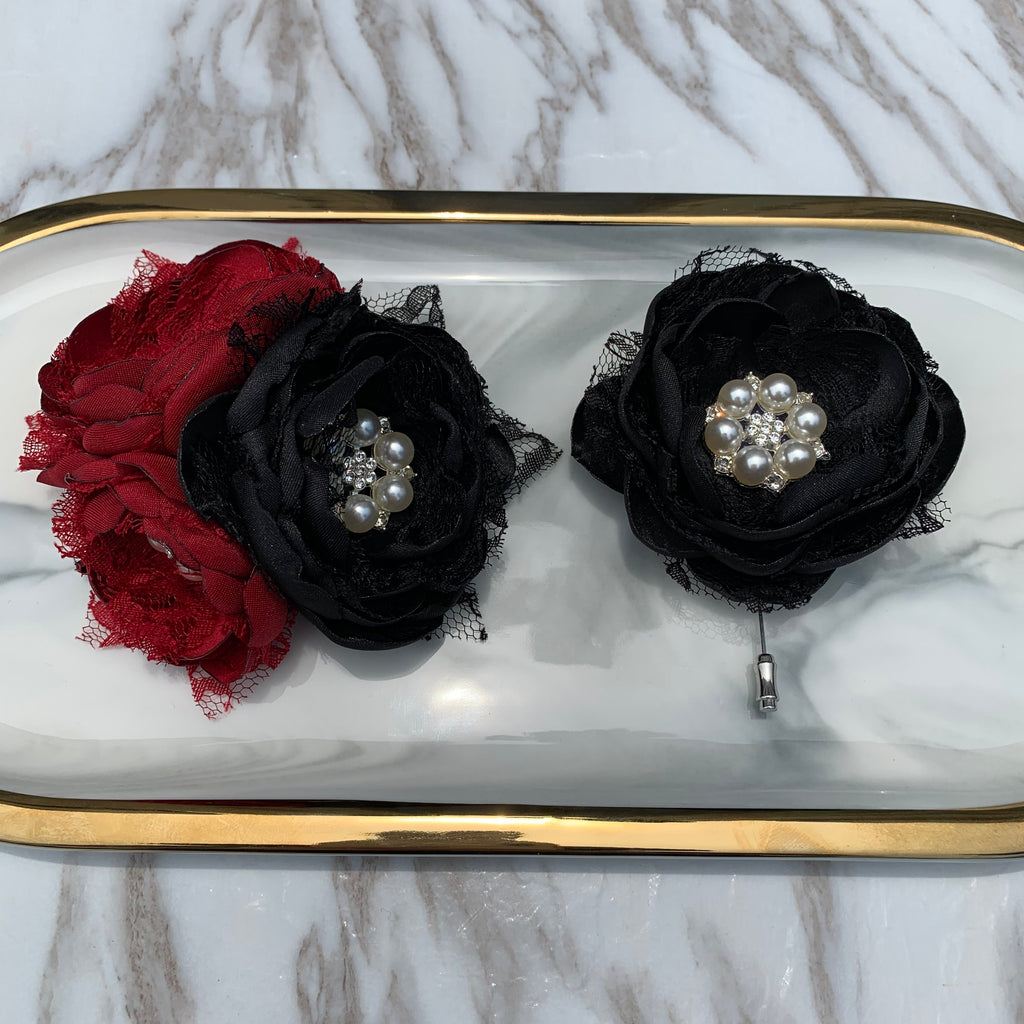 Deep Red Black Lace Satin Flower Wrist Corsage Boutonnière For Selection CR3