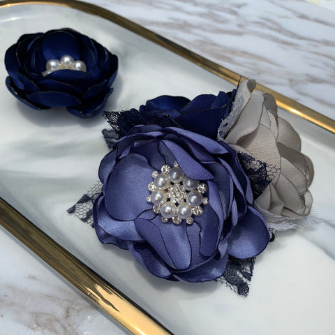 Dusty Blue Silver Gray Navy Blue Satin Flower Wrist Corsage Boutonnière For Selection CR4