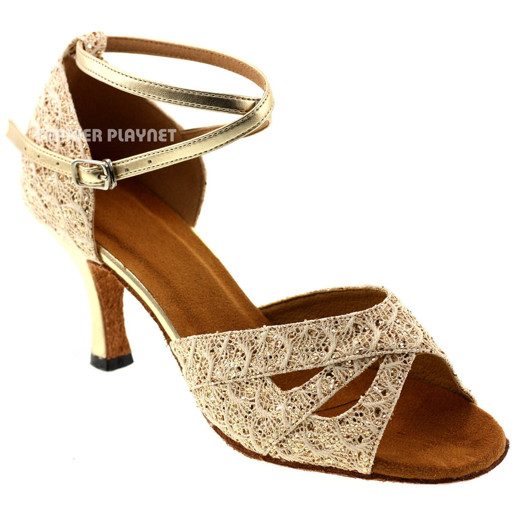 Light Gold Women Dance Shoes D1010 - Terrier Playnet Shop