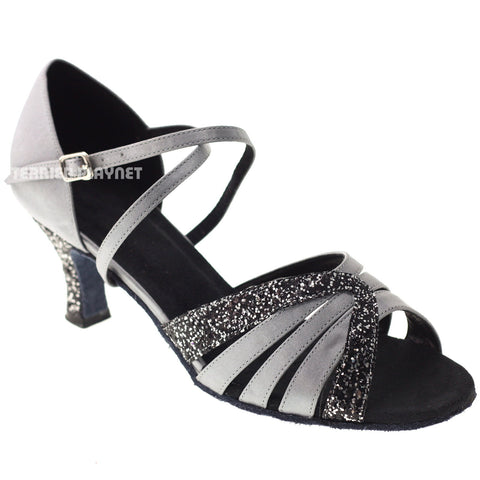 Silver Gray & Black Women Dance Shoes D1018