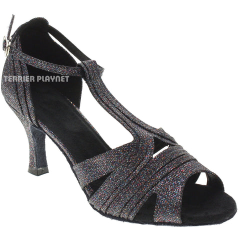 Black & Multi-Colour Women Dance Shoes D1024 UK4/US6.5/EU37 3 Inches/7.5cm Heel