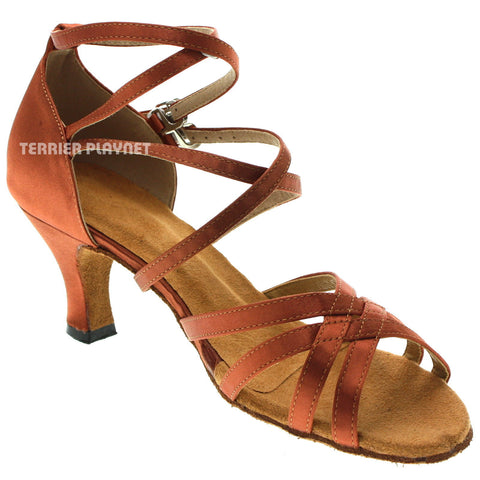 Dark Tan Women Dance Shoes D1029 UK5/US7.5/EU38 1.5 Inches/3.75cm Heel