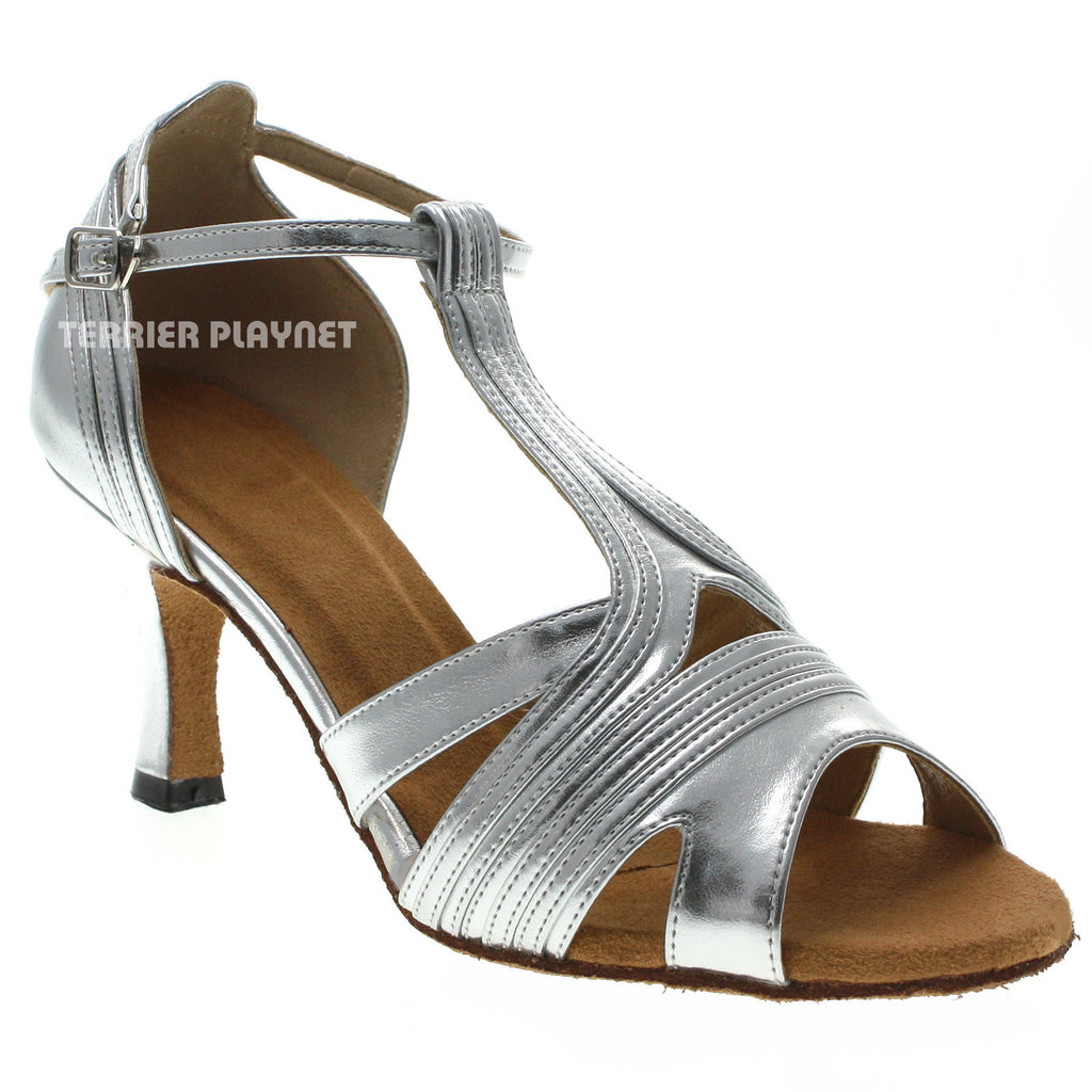 Silver Women Dance Shoes D1030 UK5/US7.5/EU38 3 Inches/7.5cm Heel