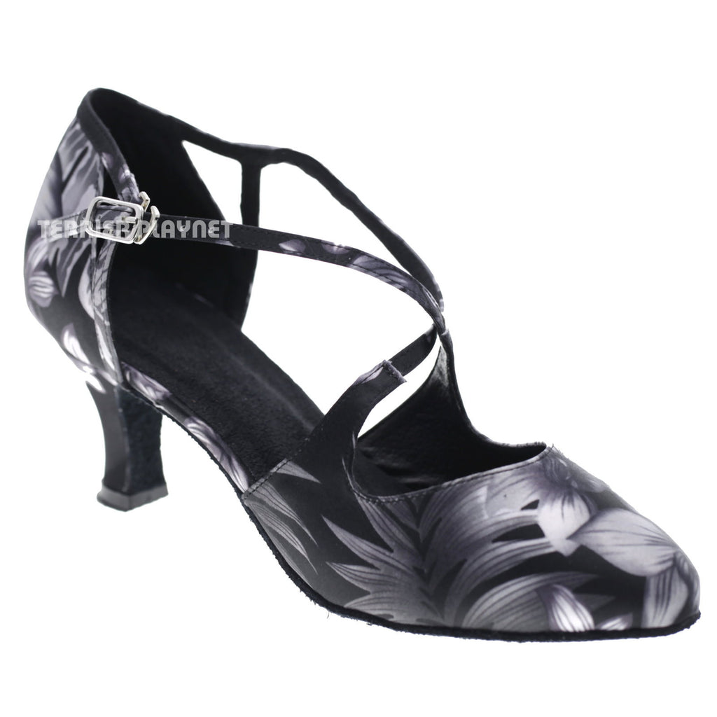 BlacK & Gray Flower Pattern Women Dance Shoes D1039 UK5/US7.5/EU38 2.5 Inches/6.25cm - Terrier Playnet Shop