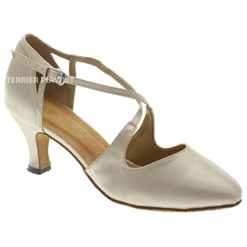 Cream Women Dance Shoes D1041 UK5/US7.5/EU38 2.5 Inches/6.25cm