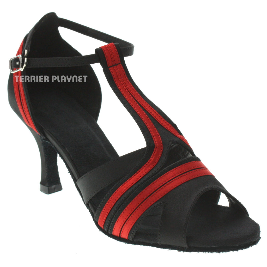 Black & Red Women Dance Shoes D1042 UK5/US7.5/EU38 3 Inches/7.5cm Heel - Terrier Playnet Shop