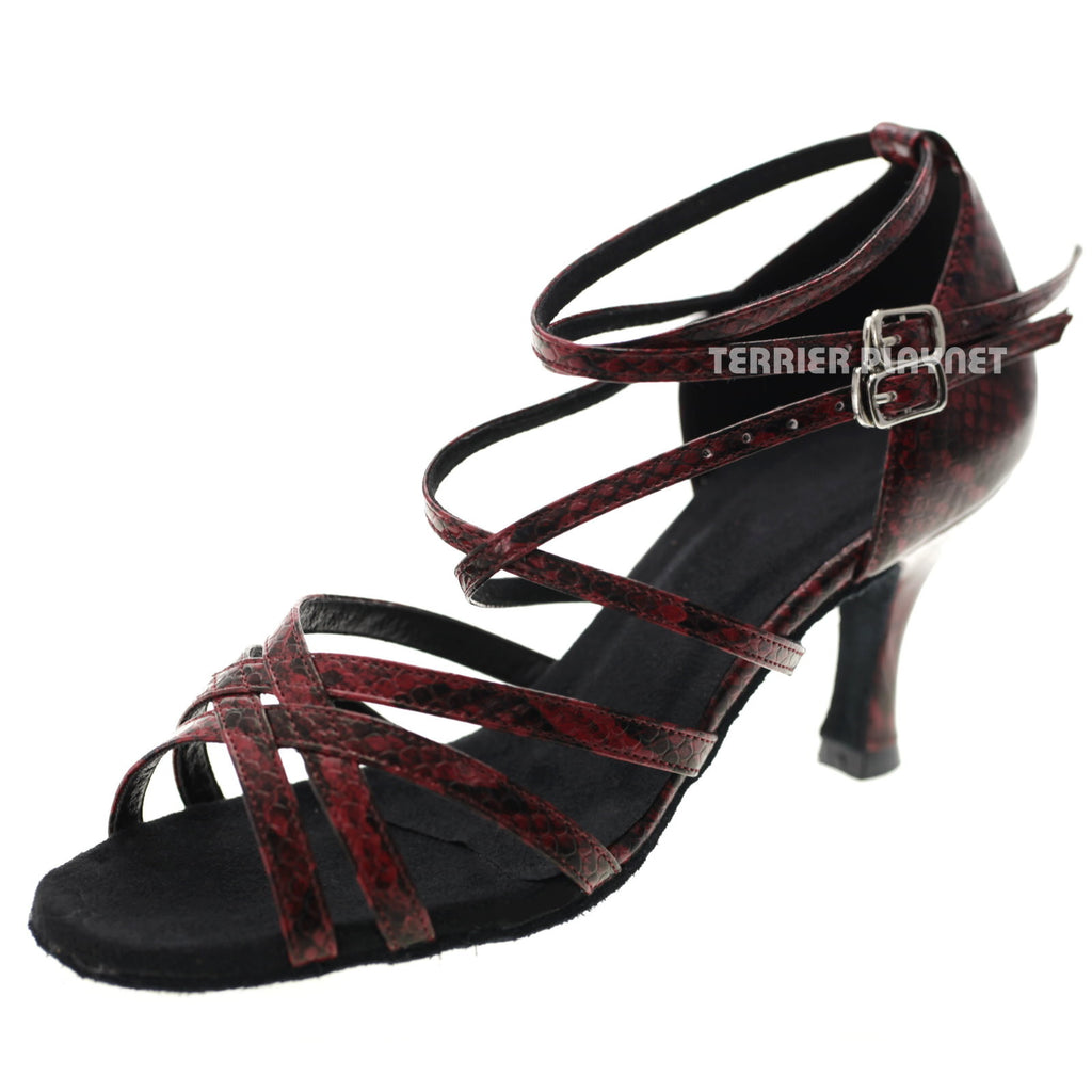Red Snake Skin Pattern Women Dance Shoes D1043