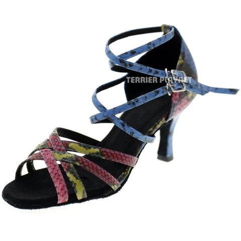 Multi-Color Snake Skin Pattern Women Dance Shoes D1044