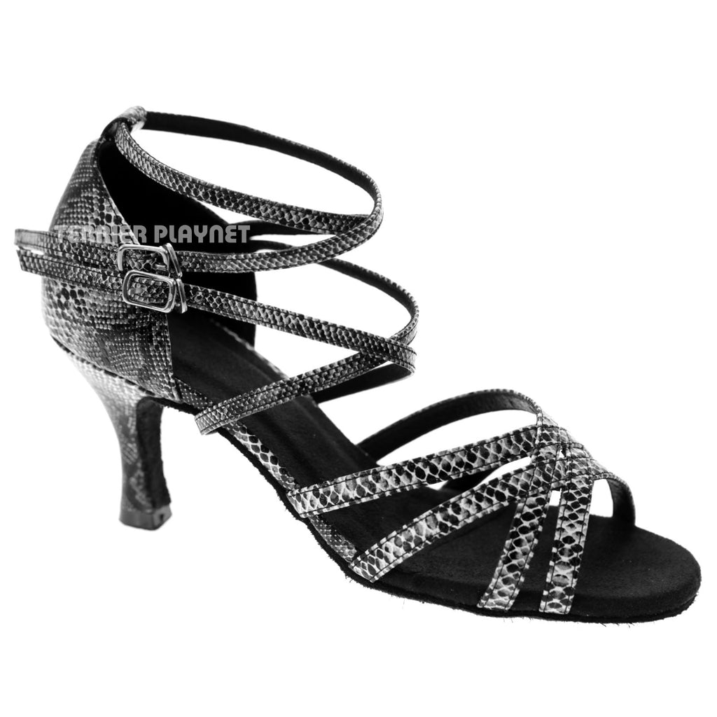 Black & White Snake Skin Pattern Women Dance Shoes D1045 - Terrier Playnet Shop
