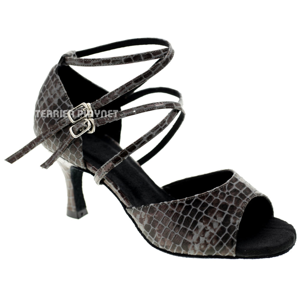 Snake Skin Pattern Women Dance Shoes D1051 UK5/US7.5/EU38 3 Inches/7.5cm Heel - Terrier Playnet Shop
