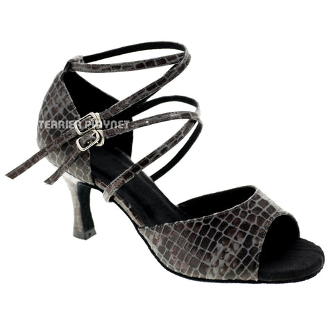 Snake Skin Pattern Women Dance Shoes D1051 UK5/US7.5/EU38 3 Inches/7.5cm Heel