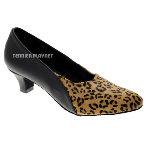 Limited Edition High Quality Black Leather & Leopard Pattern Fur Women Dance Shoes D1053