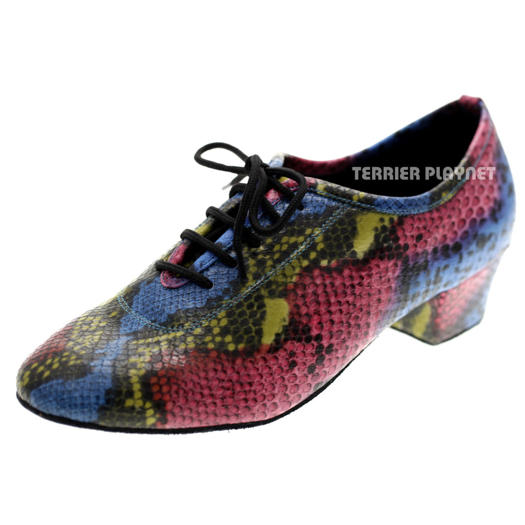 Multi-Color Snake Skin Pattern Women Dance Shoes D1054