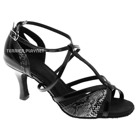 Black & White Snake Skin Pattern Women Dance Shoes D1056