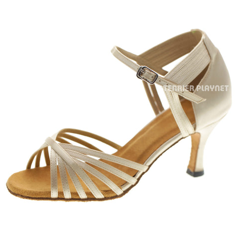 Cream Women Dance Shoes D1060 UK5/US7.5/EU38 3 Inches / 7.5cm Heel