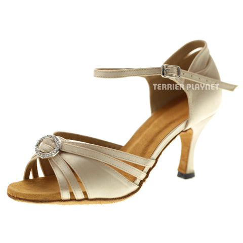 Cream Women Dance Shoes D1064 UK5/US7.5/EU39 3 Inches/7.5cm Heel