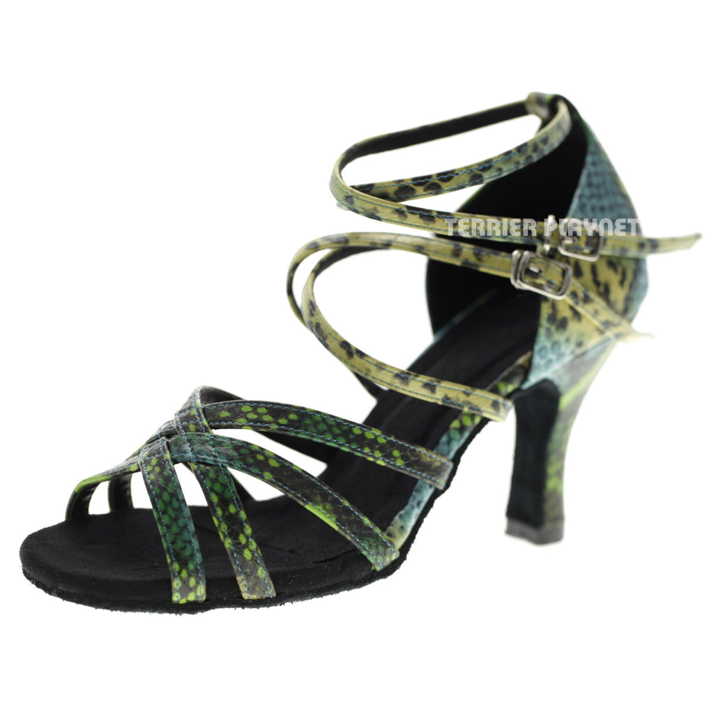 Multi-Color Snake Skin Pattern Women Dance Shoes D1066 UK5.5/US8/EU39 3.25Inches/8.25cm Heel