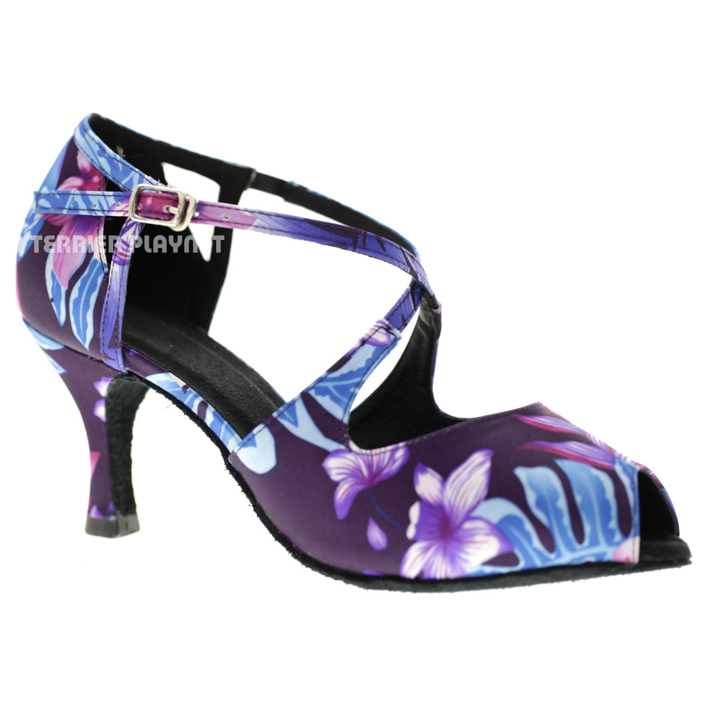 Purple & Blue Flower Pattern Women Dance Shoes D1067 - Terrier Playnet Shop