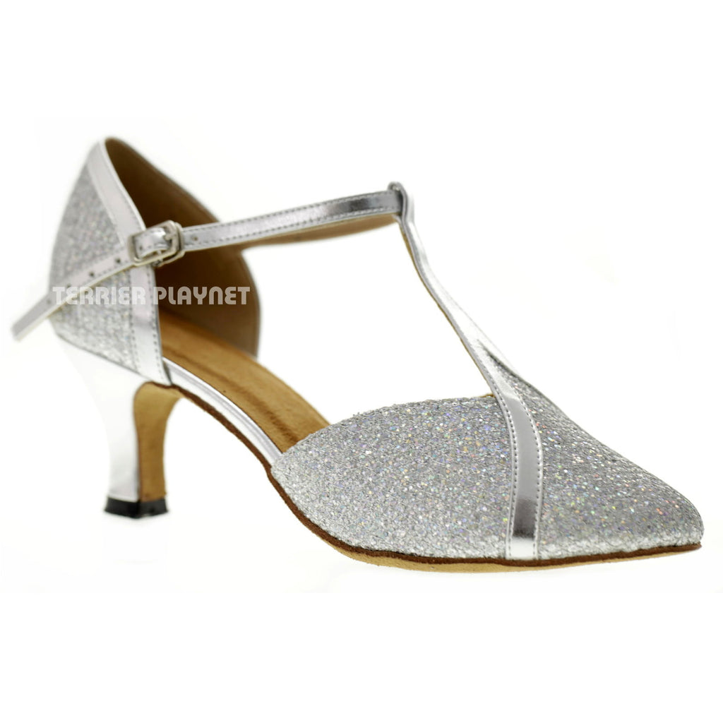 Silver Women Dance Shoes D1068 - Terrier Playnet Shop