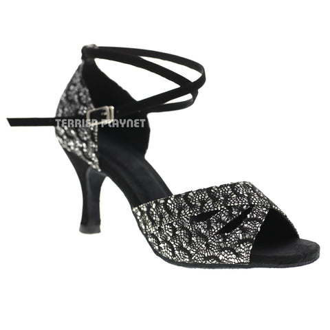 Black & Silver Women Dance Shoes D1069