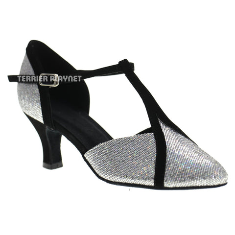 Black & Silver Women Dance Shoes D1071 UK6/US8.5/EU39.5 2.5 Inches/6.25cm Heel