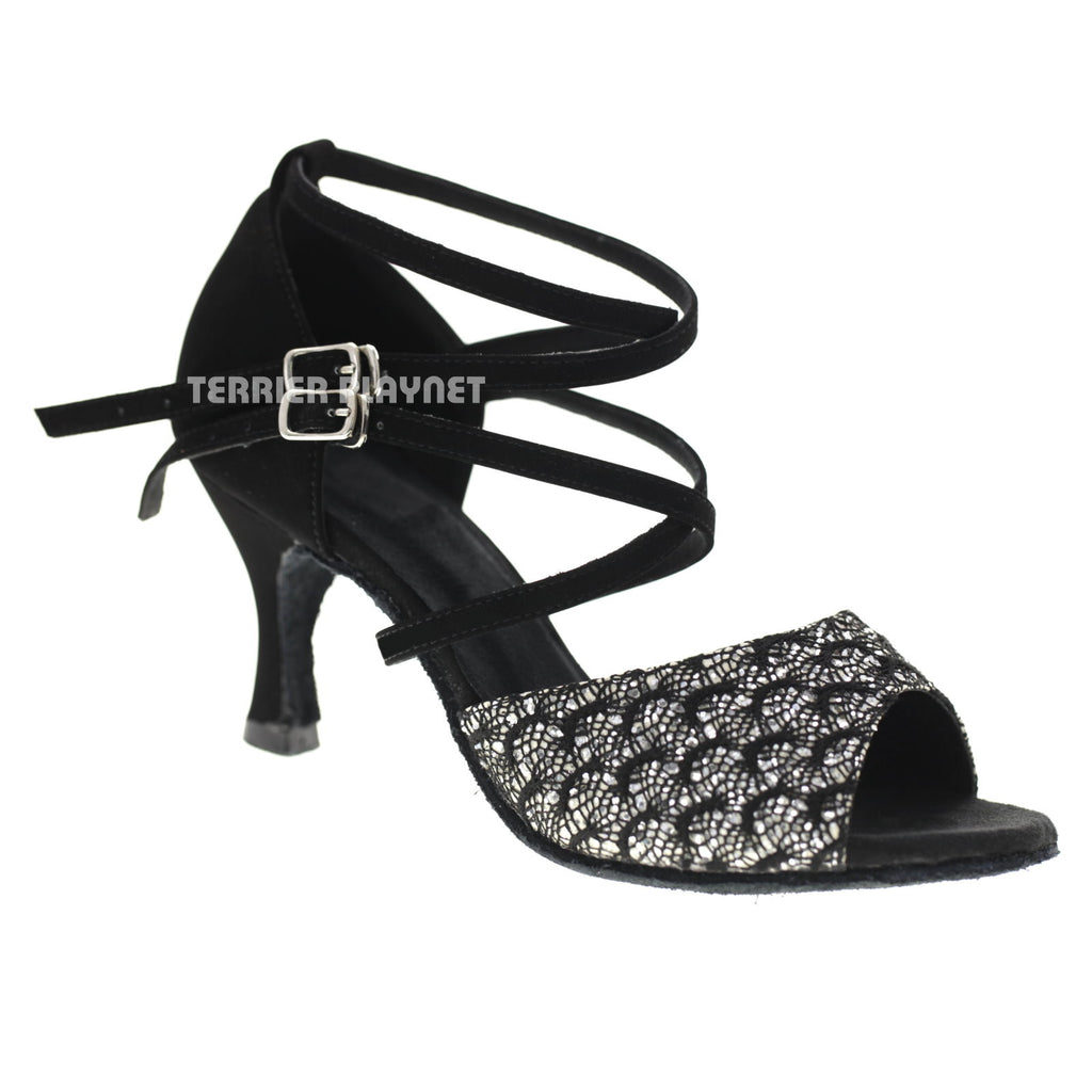 Black & Silver Women Dance Shoes D1072 UK5/US7.5/EU38 3 Inches/7.5cm Heel - Terrier Playnet Shop