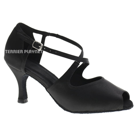 Black Women Dance Shoes D1073 UK5/US7.5/EU38 3 Inches/7.5cm Heel