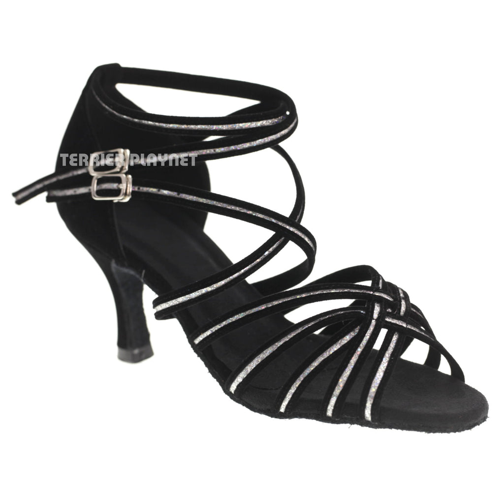 Black & Silver Women Dance Shoes D1078 - Terrier Playnet Shop