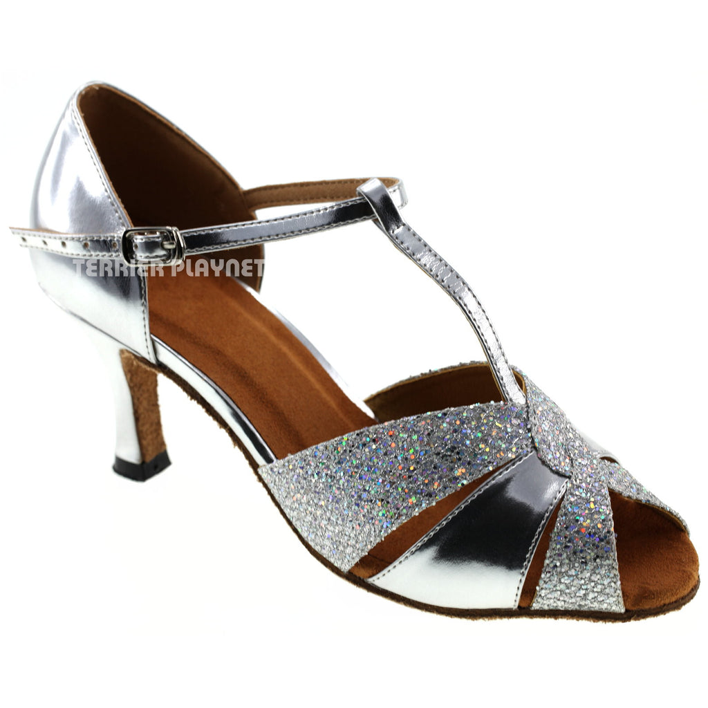 Silver Women Dance Shoes D107